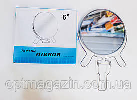 """Зеркало двухстороннееметаллическое круглое 6 """""""