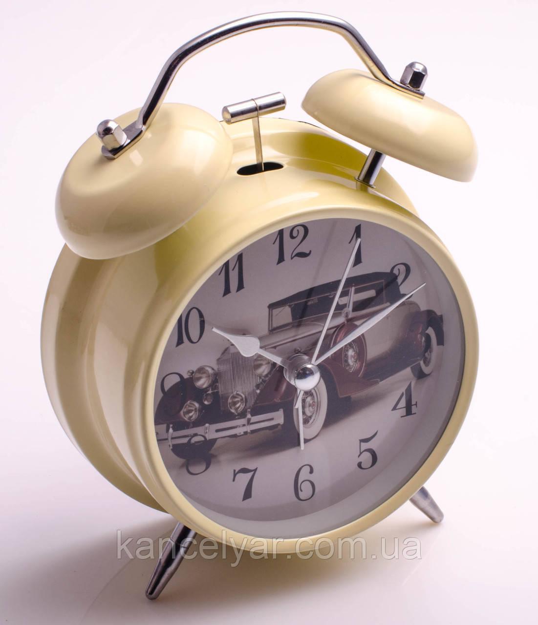 Часы-будильник с подсветкой и молоточком в металлическом корпусе, в ассортименте