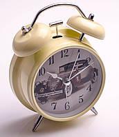 Часы-будильник с подсветкой и молоточком в металлическом корпусе, в ассортименте, фото 1