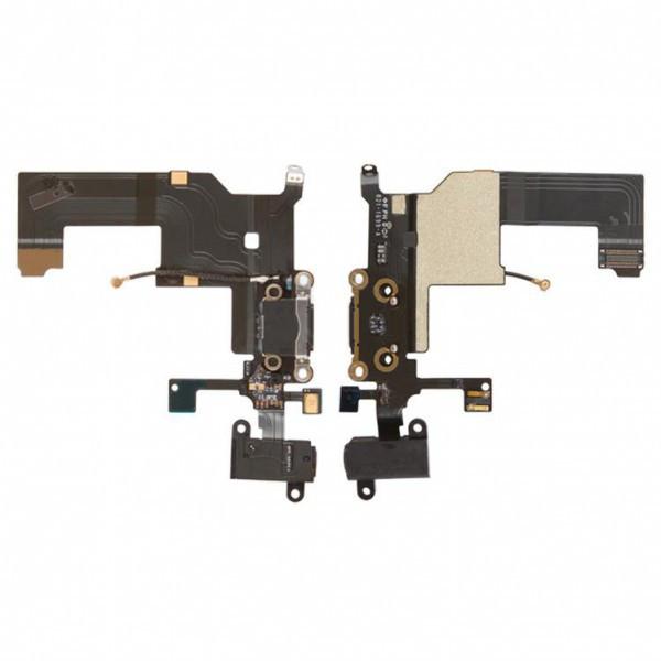 Шлейф для Apple iPhone 5, с разъемом зарядки, с коннектором наушников, с микрофоном, черный