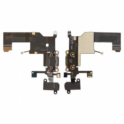 Шлейф для Apple iPhone 5, с разъемом зарядки, с коннектором наушников, с микрофоном, черный Оригинал, фото 2