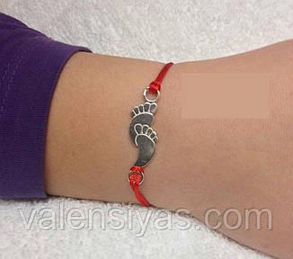 Браслет червона нитка - оберіг дитячі ніжки, фото 2