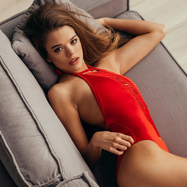 Женский слитный купальник, красный,  Perilla