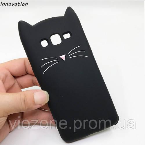 3d Чехол Бампер для Samsung Galaxy J3 2016 / J320  резиновый Чёрный Кот