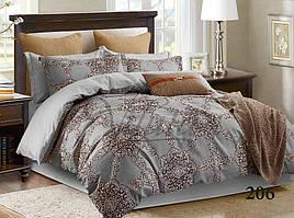 """Полуторное постельное белье из сатина № 206 """"Абстрактные цветы"""" серого цвета"""