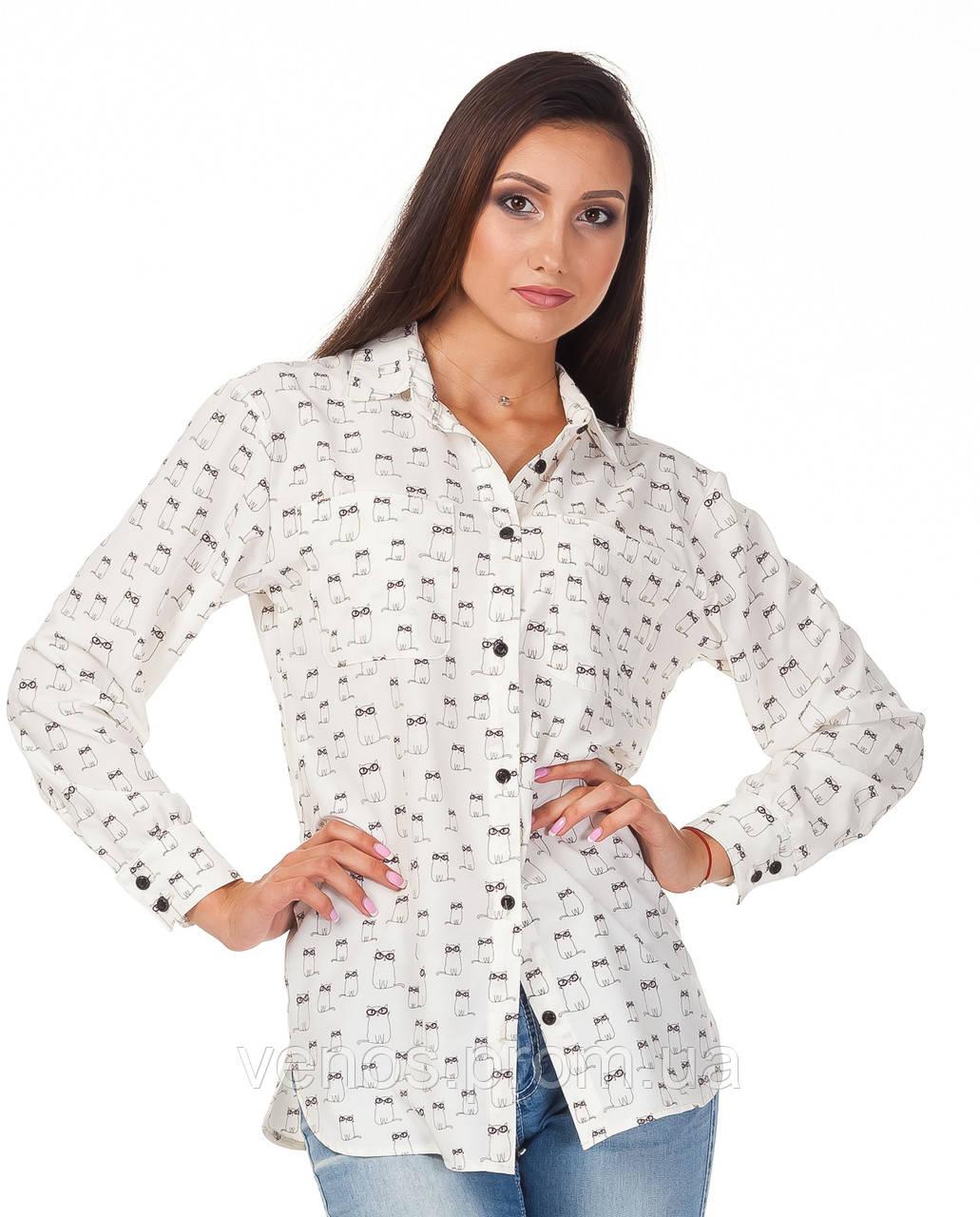 Летняя легкая рубашка с принтом коты. К090