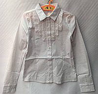 Блузка школьнаядетская классическая для девочки от 7 до 12лет, белого цвета, фото 1
