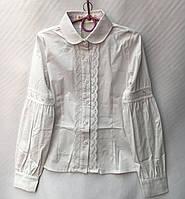 Блузка школьнаядетская для девочки с кружевом 7-12лет, белого цвета, фото 1