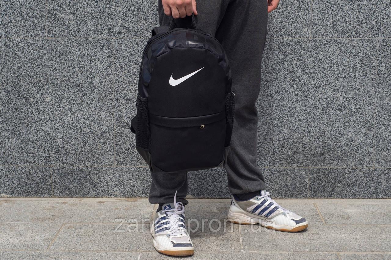 Рюкзак в стиле Nike городской унисекс с отделением для ноутбука черный (Air Max, Just Do It)
