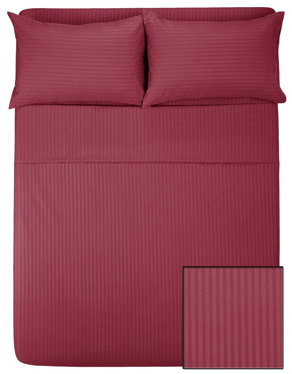 Комплекты постельного HOTEL САТИН-СТРАЙП (бордо, 100% хлопок)