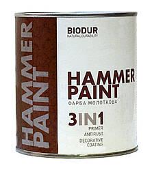 Краска молотковая (с молотковым эффектом) BIODUR 0,7л Серебристая 106