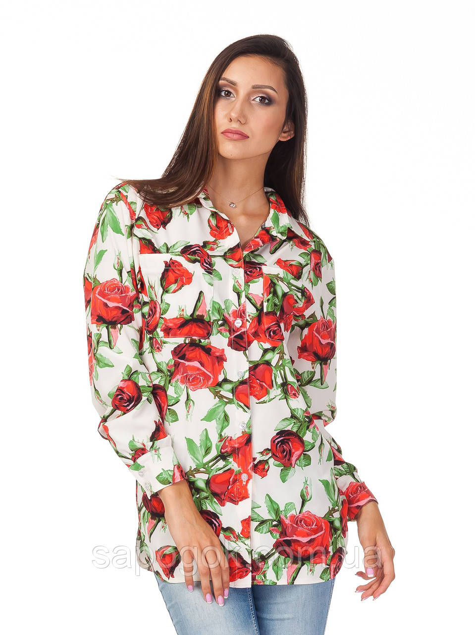 Женская летняя блуза-рубашка  К090