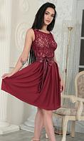 Коктейльное миди платье с кружевом и с пояском из эко-кожи. Разные цвета, размеры., фото 1