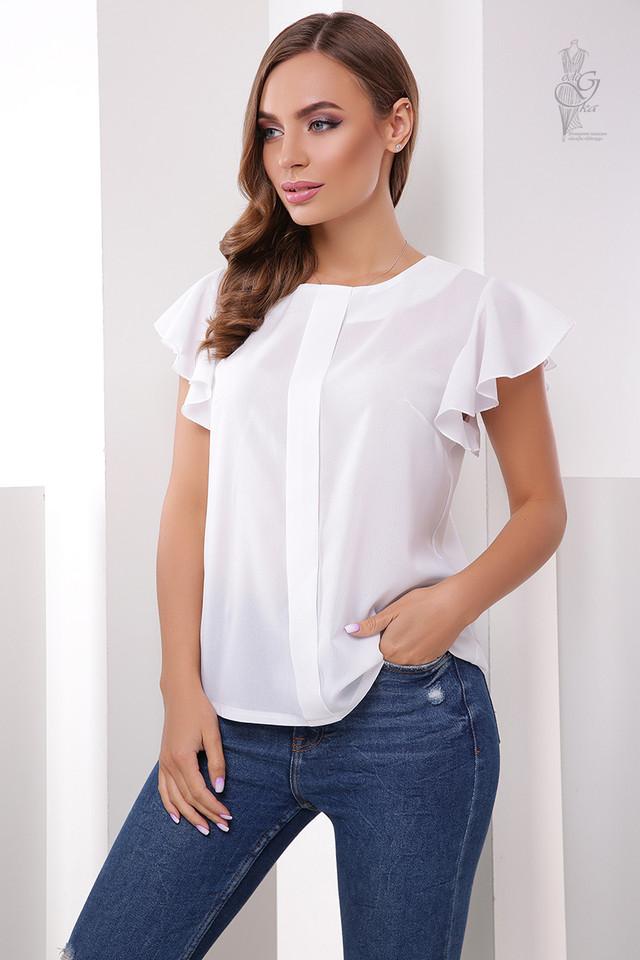 Белый цвет Блузки с коротким рукавом крылышками Флай