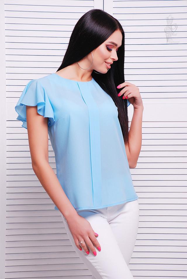 Голубой цвет Блузки с коротким рукавом крылышками Флай