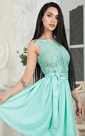 Коктейльное миди платье с кружевом и с пояском из эко-кожи. Разные цвета, размеры.