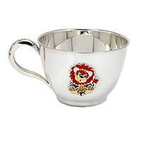 Серебряная чашка Львенок с эмалью 000043515