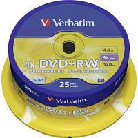 Диски  Verbatim DVD+RW   4,7Gb/4x (cake 25)