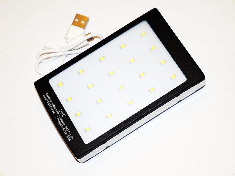 Power Bank 15000 mAh на солнечной батарее + фонарь 20 светодиодов.
