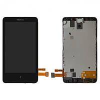 Дисплей (экран) для Nokia X Dual Sim (RM-980) + тачскрин, черный, с передней панелью, оригинал