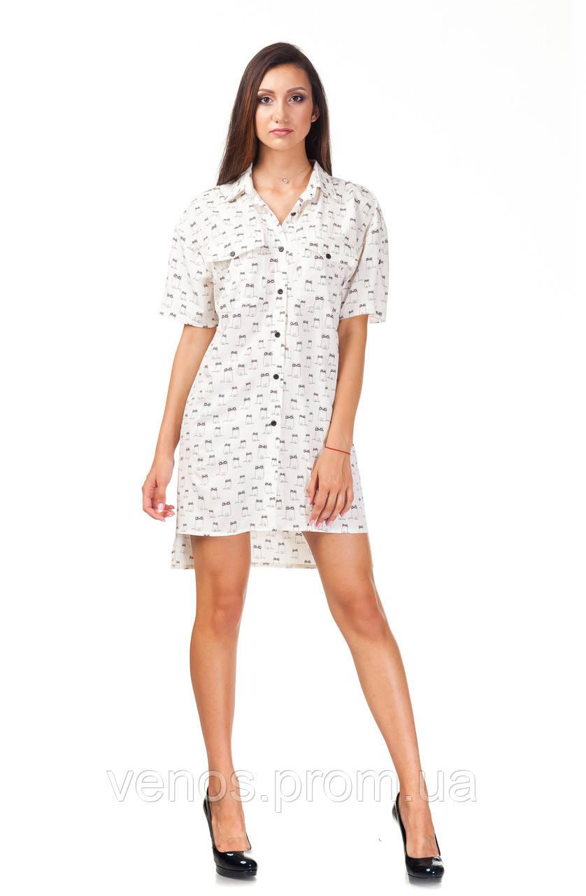 Женское платье пубашка м принтом. П112