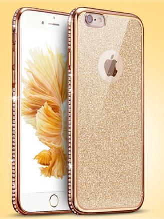Двойной золотой+прозрачный силиконовый чехол iphone 6/6s золотой ободок+камни Сваровски+блестящая вставка
