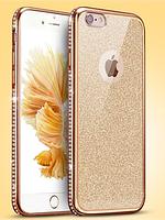 Двойной золотой+прозрачный силиконовый чехол iphone 6/6s золотой ободок+камни Сваровски+блестящая вставка, фото 1