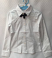 Блузка школьнаядетская для девочки с цветочками от 7 до 12лет, белого цвета