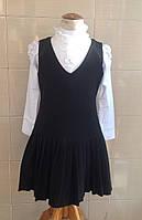 Сарафан школьный Ahsen черный с плиссированным низом юбки и V-образным вырезом горловины