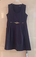 Сарафан школьный синий Ahsen с круглым вырезом и украшением по талии, фото 1