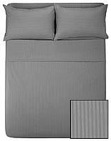 Комплекты постельного HOTEL САТИН-СТРАЙП 2х2 (серый, 100% хлопок)