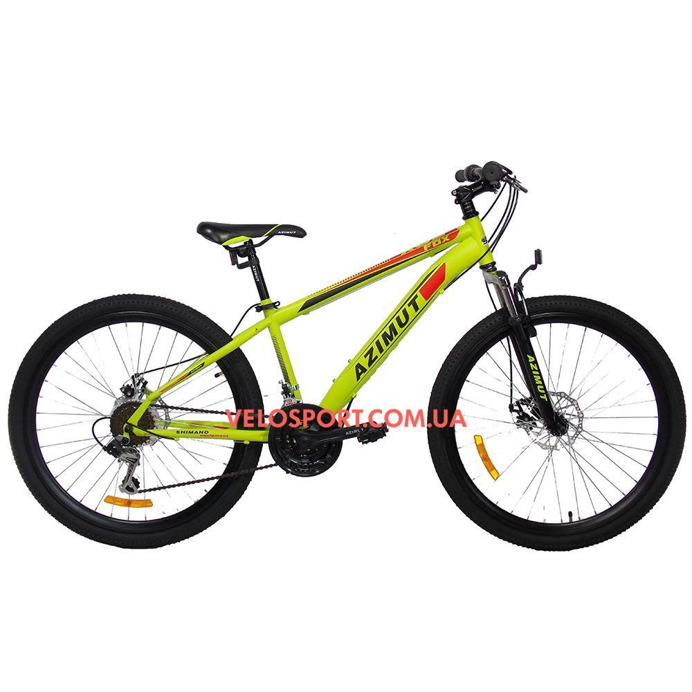 Горный велосипед Azimut Fox 26 D+ салатово-черный