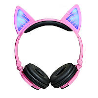 Bluetooth наушники LINX BL108A с кошачьими ушками LED Розовые (SUN0482)