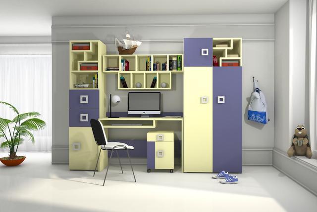 Детская комната Labirint цвет ваниль / синий (комплект 1)