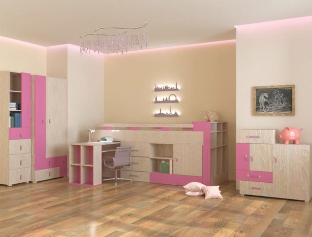 Детская комната Snoopy цвет дуб атланта / роза (комплект 1)