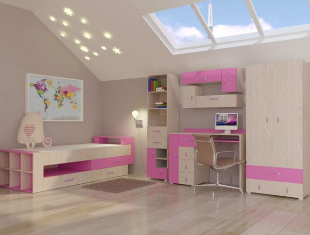 Детская комната Snoopy цвет дуб атланта / роза (комплект 2)