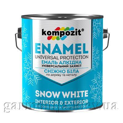 Эмаль алкидная снежно-белая Kompozit, 12 кг, Матовая