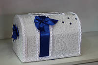 """Свадебный сундук """"Вертикальный бант"""" в синем цвете"""