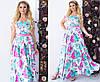 Сукня жіноча в підлогу з шовку з квітами ТК/-2047