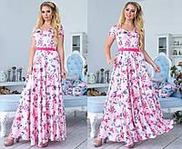 Платье женское в пол с шелка (3 цвета)- Пудра ТК/-2047, фото 1
