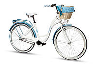 Велосипед женский город Goetze BLUEBERRY 28 3b корзина! бело-голубой, фото 1