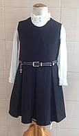 Сарафан школьный черный Ahsen с юбкой в складку и поясом из экокожи