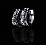 Маленькие золотые серьги с бриллиантами С18Л1№26