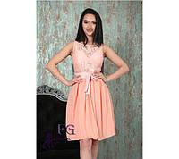 1c910fa3afc Нарядное гипюровое женское платье с поясом-бантом и пышной юбкой