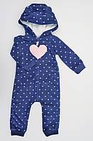 Синий флисовый комбинезон с капюшоном Carters для девочки