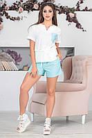 Костюм летний двойка -блузка+шорты (3 расцветки) ИБР50364086, фото 1