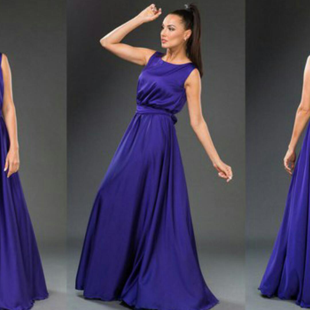 Фиолетовое длинное платье без рукавов. Армани шёлк