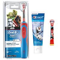 Детская  зубная щетка Oral-B D12. 513 Stages Power (СтарВарс) 2 насадки + зубная паста Crest, фото 1