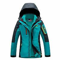Лыжная мембранная ветрозащитная женская куртка Spyder с прорезиненными замками  высокого качества