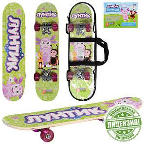 Скейт борд детский Smart Cartoon (2T2023) 40, Скейт, 48, 1.6, Лунтик, 28, Детский, Полиуретан, 400*140, от 1-го года, Рисунок